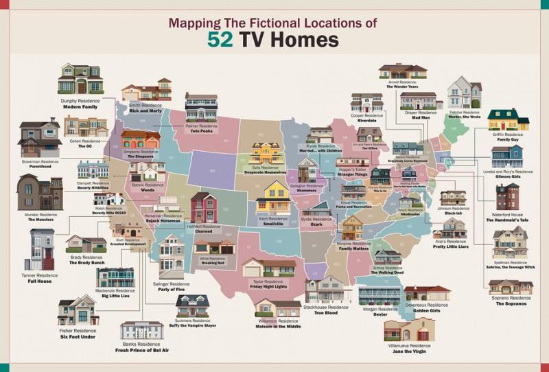 mapa casas series famosas, casas famosas, casas famosas de series